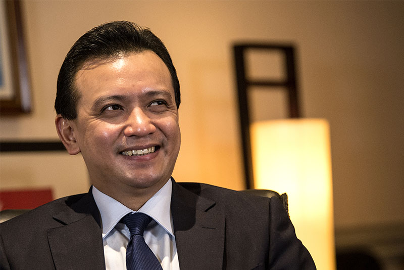 Sen. Antonio Trillanes IV, a vocal critic of President Rodrigo Duterte, has confirmed going to the US to meet with American officials to talk about enhancing bilateral ties, corruption and human rights. AFP/Noel Celis, File