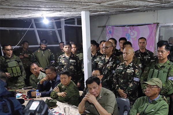 President Rodrigo Duterte on Thursday went to Marawi City as he faced massive protests in Manila as the country marks 45 years to the day martial law was declared by dictator Ferdinand Marcos. RICHARD MADELO/PRESIDENTIAL PHOTO