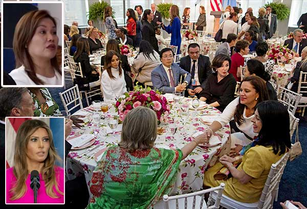 President Duterte's partner Cielito 'Honeylet' Avanceña (encircled and top inset) chats with spouses of world leaders during a United Nations luncheon at the US Mission in New York on Sept. 20. US First Lady Melania Trump (lower inset) hosted the event, which was held on the sidelines of the UN General Assembly. AFP