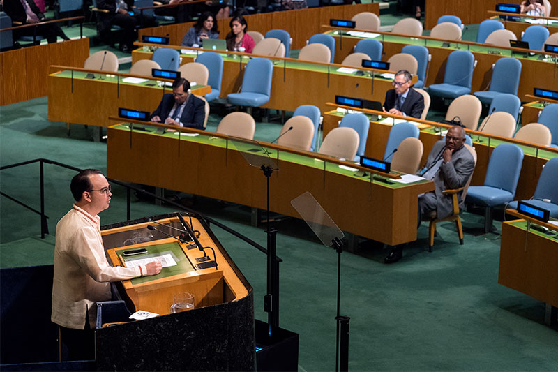 Philippine Foreign Affairs Secretary Alan Peter Cayetano addresses the United Nations General Assembly, Saturday, Sept. 23, 2017, at U.N. headquarters. AP/Craig Ruttle
