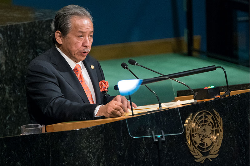 Dato Sri Anifah Aman, Foreign Minister of Malaysia addresses the United Nations General Assembly, Friday, Sept. 22, 2017, at U.N. headquarters. AP/Craig Ruttle