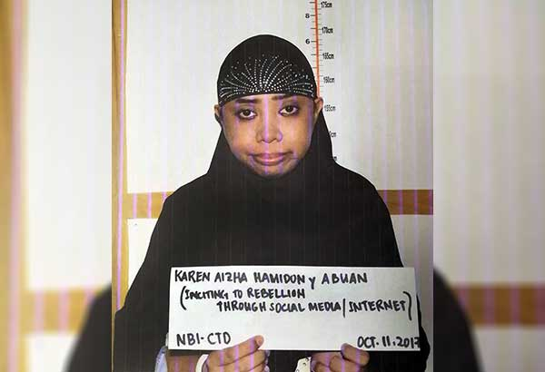 The mugshot of Karen Aizha Hamidon, who was arrested for recruiting fighters for the Islamic State and Maute group and for spreading radical Islamic propaganda. STAR/Krizjohn Rosales