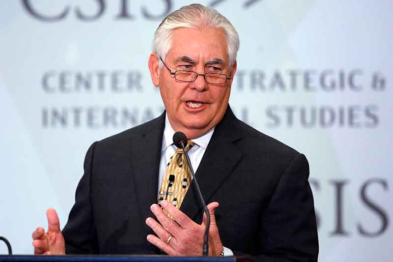 Secretary of State Rex Tillerson speaks at the Center for Strategic and International Studies on Wednesday, Oct. 18, 2017, in Washington. AP/Jacquelyn Martin