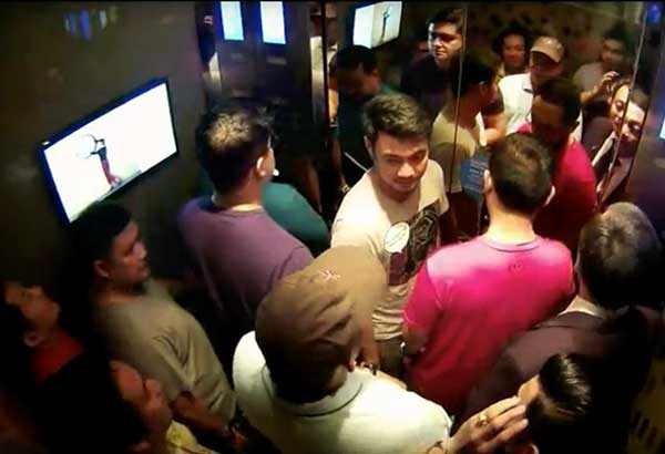 Screen grab from video footage obtained by the MPD shows members of the Aegis Juris fraternity in an elevator of a Quezon City hotel where they met to discuss the death of UST law student Horacio Castillo III. The video was taken on Sept. 17, hours after the neophyte was killed during initiation rites.