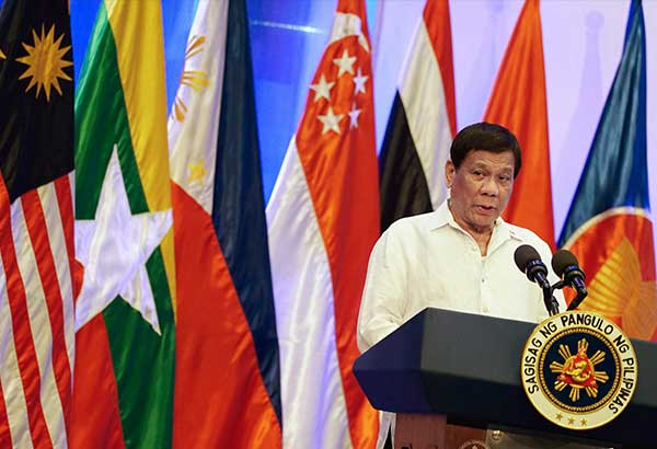 President Duterte addresses the High Level Forum on Asean@50 at the Conrad Manila Hotel in Pasay City yesterday.