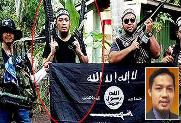 Malaysian Mahmud Ahmad, the alleged financier of the Maute group (center and inset) poses with other Islamic militants in Mindanao.
