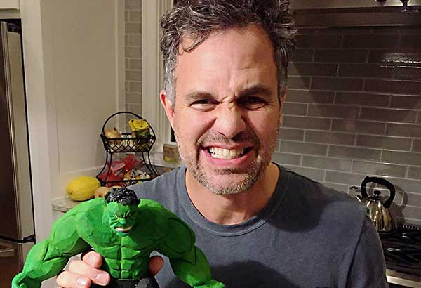 Image from Mark Ruffalo's Twitter account shows the actor holding a Hulk figure given to him by Elmer Padilla of Cavite. Padilla, a street vendor, derives extra income from turning worn-out tsinelas, or flip-flops, into action figures.