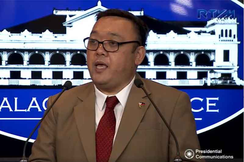 In this Nov. 2, 2017 file photo, Presidential spokesperson Harry Roque holds his first press briefing with the Malacañang Press Corps. Facebook screengrab/Presidential Communications
