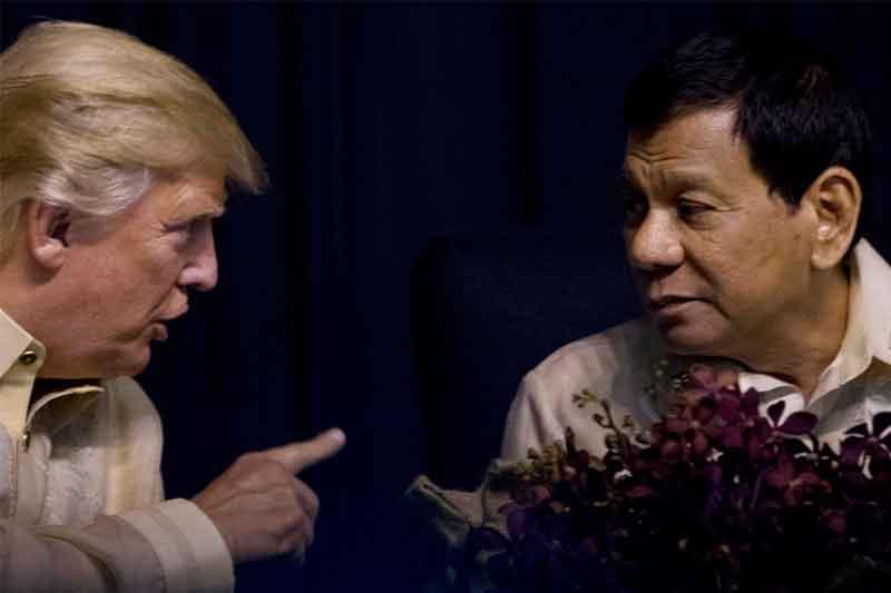 President Donald Trump speaks with Philippines President Rodrigo Duterte at an ASEAN Summit dinner at the SMX Convention Center, Sunday, Nov. 12, 2017, in Manila, Philippines. AP/Andrew Harnik