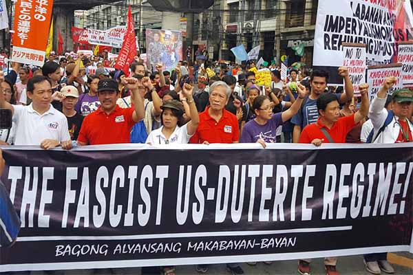 Rallyists head to Mendiola, Manila to protest against the visit of US Donald Trump for the ASEAN Summit. BAYAN Facebook page