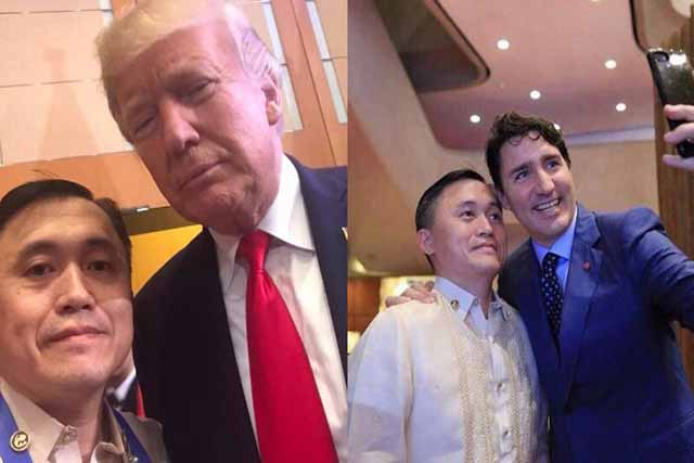 """Special Assistant to the President Christopher """"Bong"""" Go dubbed as the """"nationalphotobomber""""for being always behind President RodrigoDuterte'sphotos, kept his tradition of taking selfies with world leaders at the ASEAN summit. Christopher Bong Go, Facebook"""