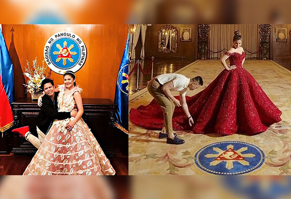 Instagram images from her stylists show presidential granddaughter Isabelle Duterte posing with make-up artist Frankie Bacierto (left) and wearing a red gown during a pre-debut pictorial at Malacañang last Thursday.