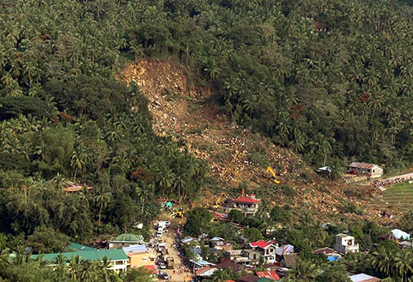 Photo provided by the Office of the Presidential Assistant for the Visayas shows one of three landslides that devastated Biliran province.