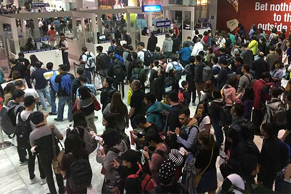Immigration lines at the Ninoy Aquino International Airport Terminal 2. File photo