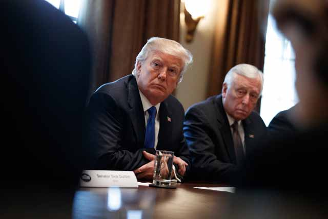 President Donald Trump listens during a meeting with lawmakers on immigration policy in the Cabinet Room of the White House, Tuesday, Jan. 9, 2018, in Washington. AP/Evan Vucci