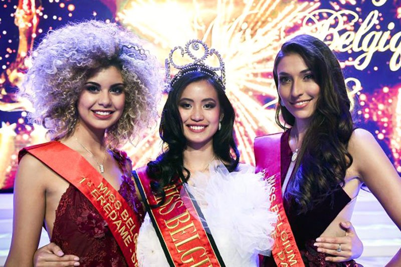 Miss Belgium 2018 Angeline Flor Pua is flanked by first runner-up Zoé Brunet and second runner-up Dhenia Covens in the pageant held at the Plopsaland Theater in De Panne, Belgium last Saturday. Pua, born and raised in Belgium, is a student pilot-in-training. Miss Belgium Organization Photos