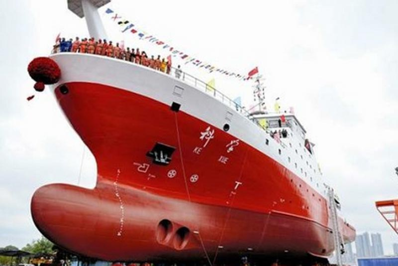 """Weighing 4,711 tons, China Daily described Kexue as a """"moving laboratory on the sea"""" capable of global voyages and all-day observations. Photo from Institute of Oceanology of Chinese Academy of Sciences website"""