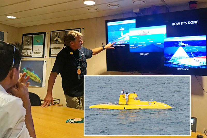 Expedition leader Robert Kraft shows to Ormoc Mayor Richard Gomez images taken during their exploration. Inset shows the yellow submarine the researchers used to find sunken warships in Ormoc Bay.   Lalaine Jimenea