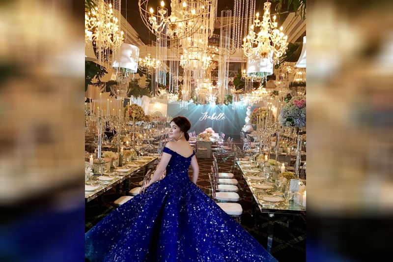 Presidential granddaughter Isabelle Duterte wears a Michael Cinco couture ball gown during her debut at The Manila Peninsula last Friday night. Photo from Forsc Ink Inc Instagram