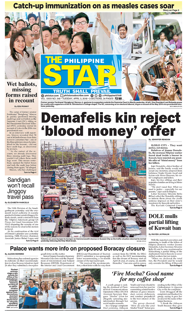 The Star Cover (April 6, 2018) | Philstar.com