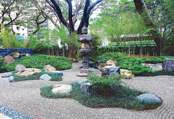 A view of the Tsuruki-En Garden, with a toro in the center — a spot of serenity right in the heart of the Makati Central Business District.