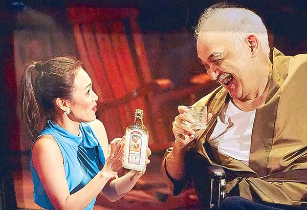 Issa Litton (as daughter-in-law Sofia) and Leo Rialp (as patriarch Zacarias Monzon) in Fathers and Sons.