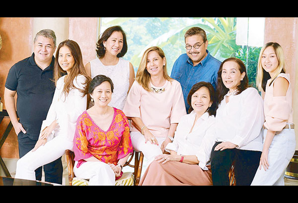 (Seated, from left) Fashion designer Mia Arcenas-Branellec with ICanServe Foundation fundraising committee head Bettina Osmeña, fundraising committee member Sandy Lamb Moran, chairwoman Libet Virata and president Tang Singson; (standing, from left) fashion designer JC Buendia, ICanServe Foundation fundraising committee member Camille Samson with fashion designers Ito Curata and Rosenthal Tee.