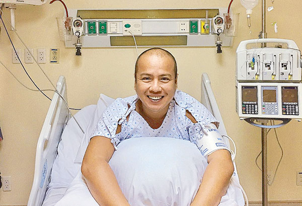 The author in his hospital bed: 'My heart beats anew with overflowing joy towards life.'