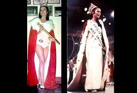 Far left: Gloria Diaz as 1969 Bb. Pilipinas-Universe and (left) as (the first Filipina) Miss Universe that same year. Gloria lost her Miss Universe scepter at the San Francisco airport on her way back to the Philippines due to 'excess luggage.' It has never been found. Oh well, she did win the crown but lost the scepter. STAR/File