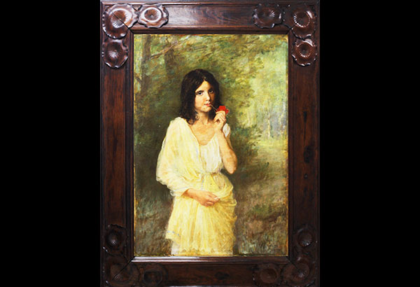 """""""La Inocencia"""" by Felix Resurreccion Hidalgo is the star lot in Leon Gallery's concluding auction for the year, the Kingly Treasures. Painted in Paris in 1901, the work features Maria Yrritia, the subject of Hidalgo's art and ardor."""