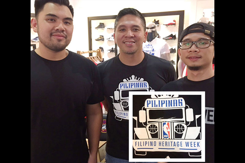 Titan marketing director Raoul Reinoso (middle) with Slam managing editor Migs Rocha (left) and graphic artist Diego Eusebio who designed the NBA Filipino Heritage Week logo (right photo).