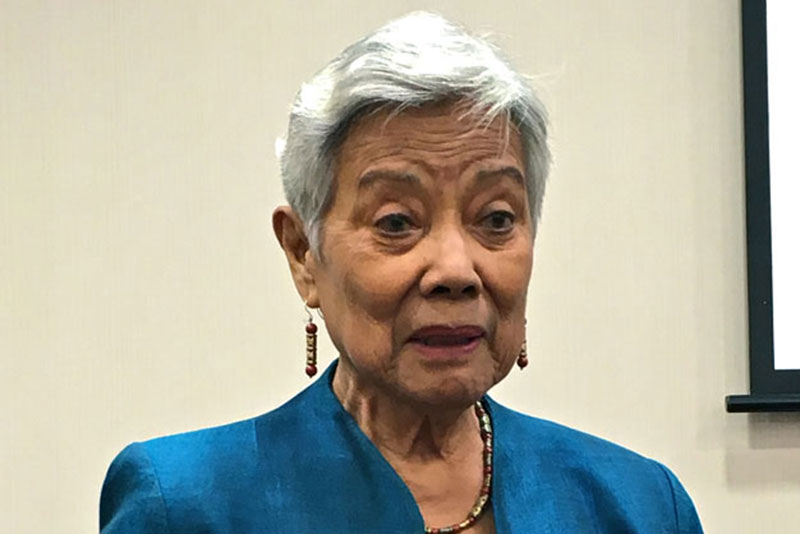 Former senator Leticia Shahani Ramos delivering remarks at a book launching in Singapore Management University last November.