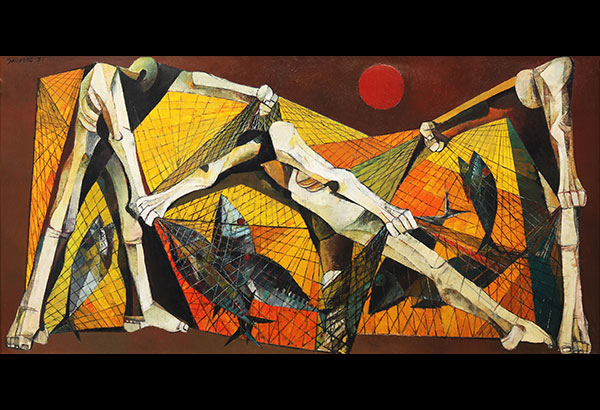 """Ang Kiukok's """"Fishermen"""" depicts three angled figures spelling out the name of the artist. Sold for P65,408,000, the 40x80 inch painting is the most expensive Philippine artwork ever sold at a local auction."""