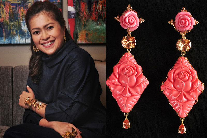 "Jewelry designer Tim Tam Ong and a piece from her latest collection, ""Wonderland."""
