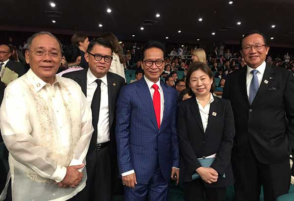 Presidential Spokesperson Ernie Abella, ASEAN BAC chair Joey Concepcion, legal counsel Sec. Salvador Panelo, ASEAN BAC Philippines' Tessie Sy-Coson, and George Barcelon during the ASEAN@50 Philippines celebration at PICC​