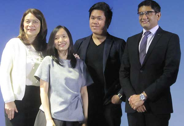 AXA Philippines president and CEO Rahul Hora (right) with (from left) AXA Philippines chief customer officer Amor Balagtas, Reese Fernandez of Rags2Riches, and Gian Javelona of OrangeApps