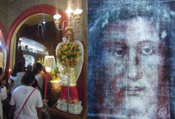 Bus loads of pilgrims (left) show their devotion to the replica of Christ's burial veil (right) in Nueva Ecija. Photos from Sanctuary of Holy Face Nampicuan website.