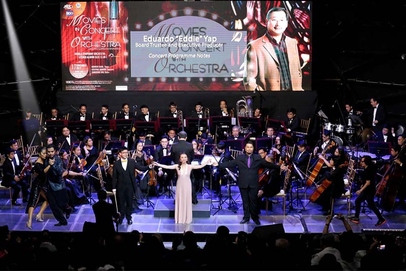 """Movies in Concert with Orchestra"" featuring the Manila Symphony Orchestra and the Ateneo Alumni Glee Club was produced by Eduardo ""Eddie"" Yap for the Manila Chamber Orchestra Foundation Inc."