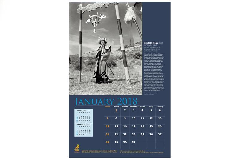 Genghis Khan is one of the films featured on the NCCA 2018 calendar.
