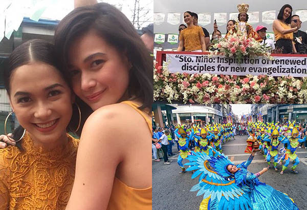 Bea Alonzo and Maja Salvador (left and top right) were among those who graced this year's Sinulog float parade (Photos from Twitter/Star Magic); This photo (right, bottom) shows a festival queen and her street dancers. The Freeman/File
