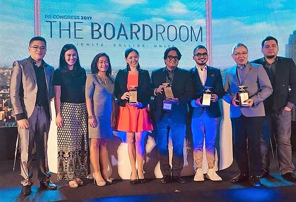 """The Boardroom"" chair Chito Maniago and Public Relations Society of the Philippines president Jika Dalupan with module speakers Mon Isberto of PLDT, author Bong Osorio, Pao Pena of Dentsu Jayme Syfu and Nina Terol of McCann Erickson Philippines"