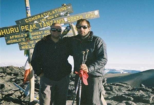Author James Michael Lafferty and renowned blind mountain climber Erik Weihenmayer at the summit of Mt. Kilimanjaro, Tanzania, on Sept. 12, 2005