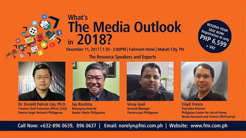 How TV is evolving as a dominant consumer touch point? What is the state of radio, print media and out-of-home? How digital and mobile are disruptively transforming the Filipino consumers lifestyle, behavior and habits?These are some of the relevant questions that will be addressed in theMedia Outlook 2018. Released