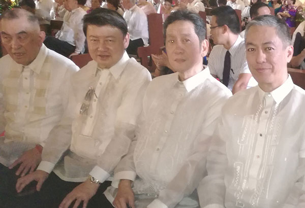 Alex Yap, Henry Lim Bon Liong, Sammy Uy and Michael Tan at the Marcos- Manglapus wedding in Paoay Church