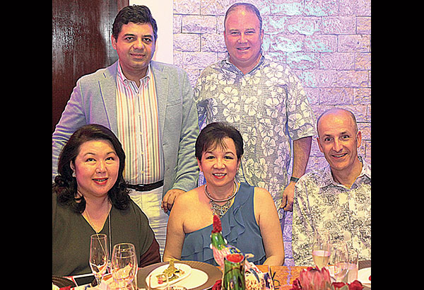 Seated are (from left) Philippine Tatler managing director Irene Martel-Francisco, Grace Glory Go and Makati Shangri-La GM & Shangri-La hotels area manager Alain Borgers. Standing are Edsa Shangri-La GM Amit Oberoi and Shangri-La at the Fort GM John Rice