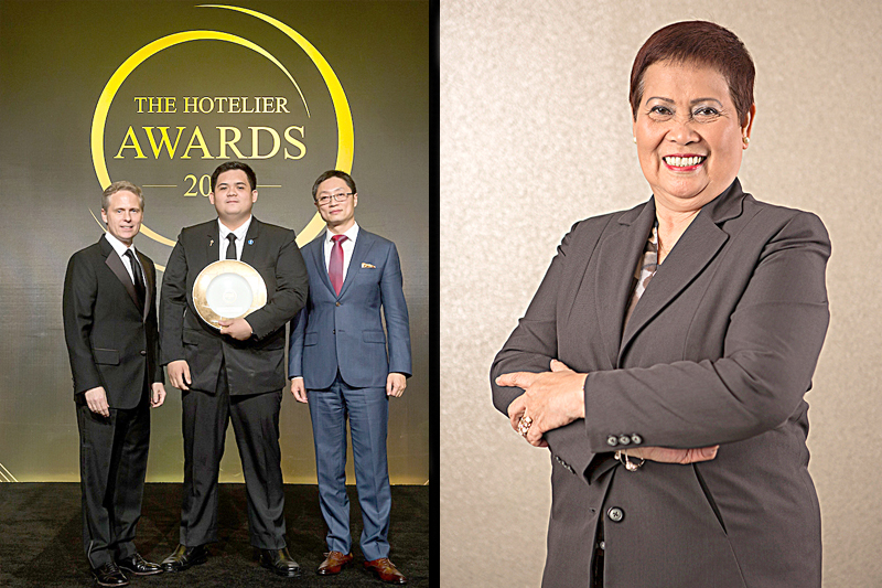City of Dreams Manila's Emergency Response & Preparedness team supervisor Michael Lumbres (center) was awarded the Asia's Unsung Hero of the Year award as presented by Google Asia-Pacific chief marketing officer & Hotelier Awards judge Simon Kahn (left) and BMW VP of corporate, authority and diplomatic sales & event sponsor representative Tony Zhu (right). Inset photo shows City of Dreams Manila's director of housekeeping Judith Matubis, who was recognized as Asia's Rooms Hotelier of the Year.