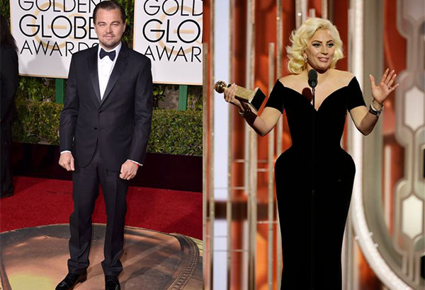 "Right photo shows Leonardo DiCaprio at the red carpet while left is an image released by NBC shows Lady Gaga accepting the award for best actress in a limited series or TV movie for her role in, ""American Horror Story: Hotel"", at the 73rd Annual Golden Globe Awards at the Beverly Hilton Hotel in Beverly Hills, Calif., on Sunday, Jan. 10, 2016. Paul Drinkwater/NBC via AP"