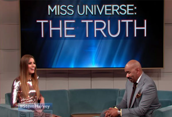 Steve Harvey interviews Miss Colombia Ariadna Gutierrez on his show. YouTube screengrab