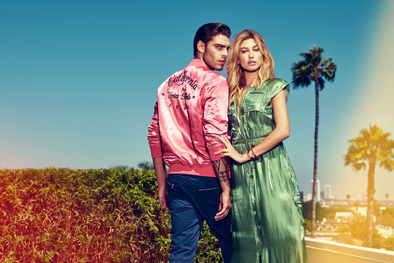 Spring-summer ad campaign featuring latest Guess endorser Hailey Baldwin, alongside heartthrob Stefano Sala. Photo release