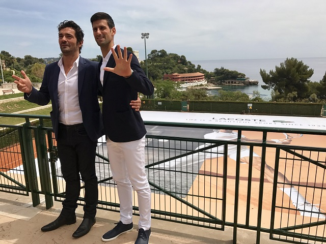 Lacoste CEO Thierry Guibert (left) announced that Novak Djokovic is the French brand's new ambassador, under contract for five years.  Since it was Djokovic's birthday, Lacoste gave him a special gift: his image on the court of the Monte Carlo Country Club.